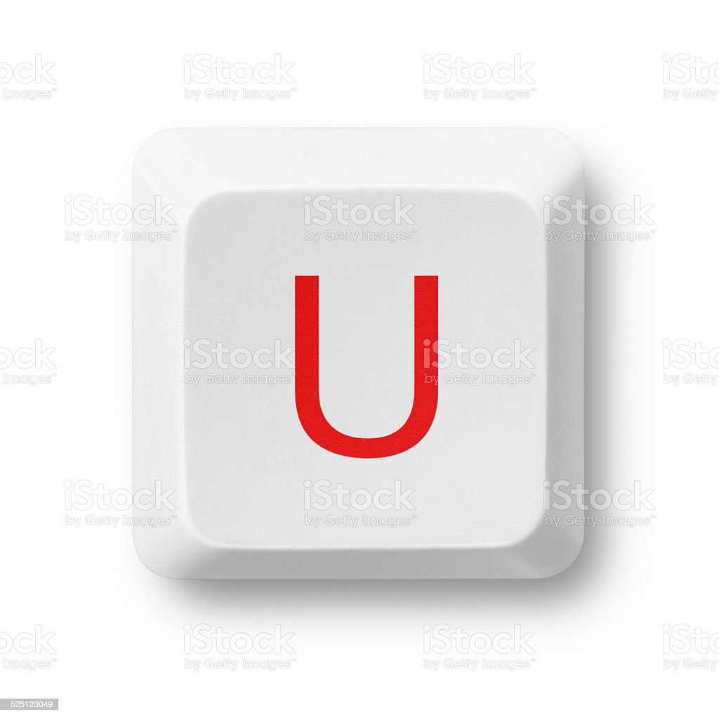 Letter U on a computer key isolated on white stock photo