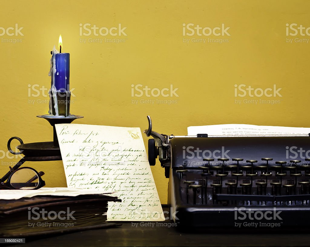 Letter under blue candle royalty-free stock photo