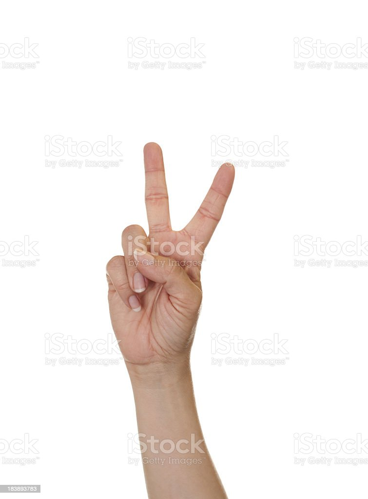 Letter V in American Sign Language stock photo