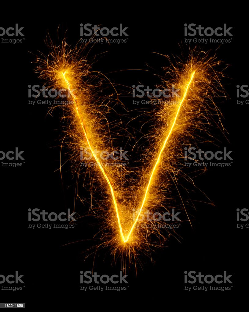 Letter V in Fireworks stock photo