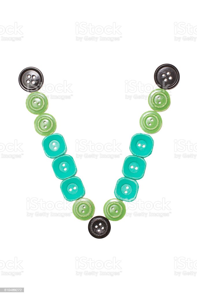 letter V made of colors buttons stock photo