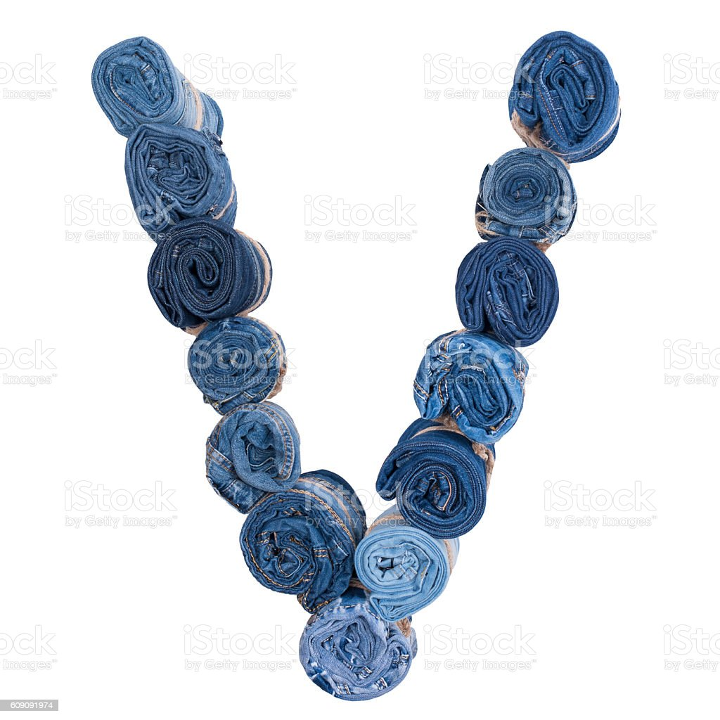Letter V made of jeans roll stock photo