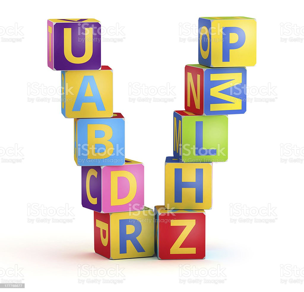 Letter V maked from abc cubes stock photo