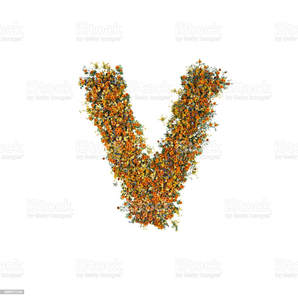 Letter V of Flowers and Grass on White Background stock photo