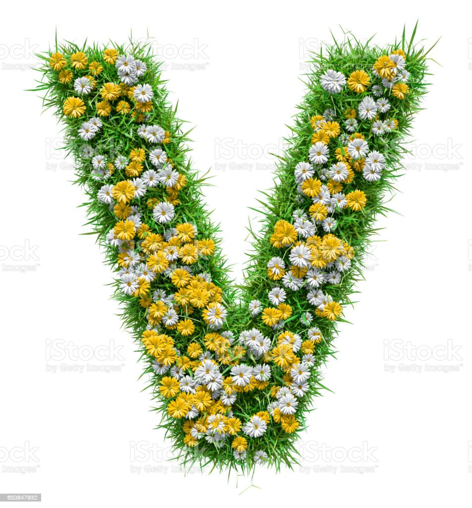 Letter V Of Green Grass And Flowers stock photo