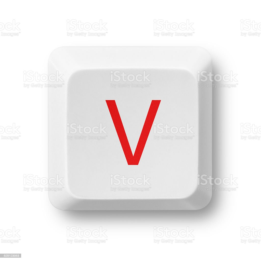 Letter V on a computer key isolated on white stock photo