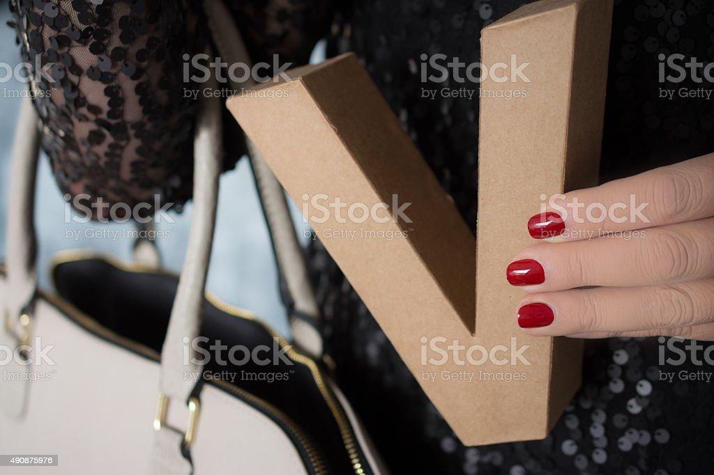 Letter V purse stock photo