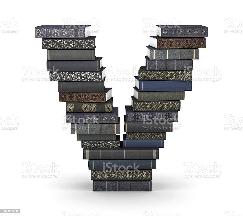 Letter V, stack of books royalty-free stock photo