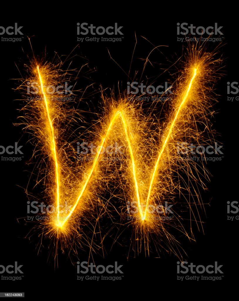 Letter W in Fireworks royalty-free stock photo