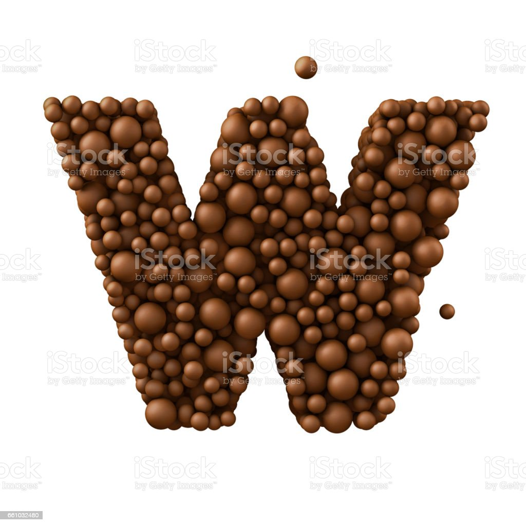 Letter W made of chocolate bubbles, milk chocolate concept, 3d illustration stock photo