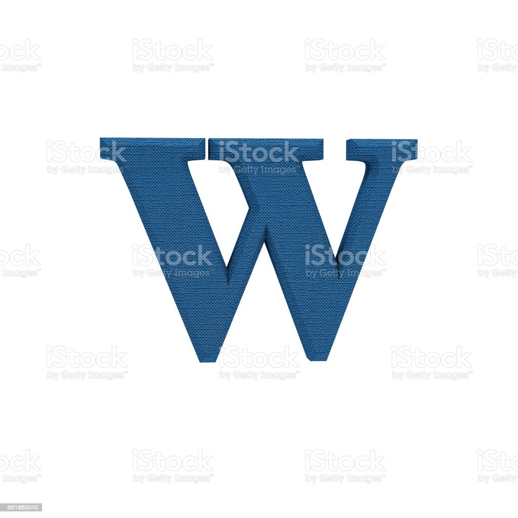 Letter W made of cloth, tissue texture, 3d illustration stock photo