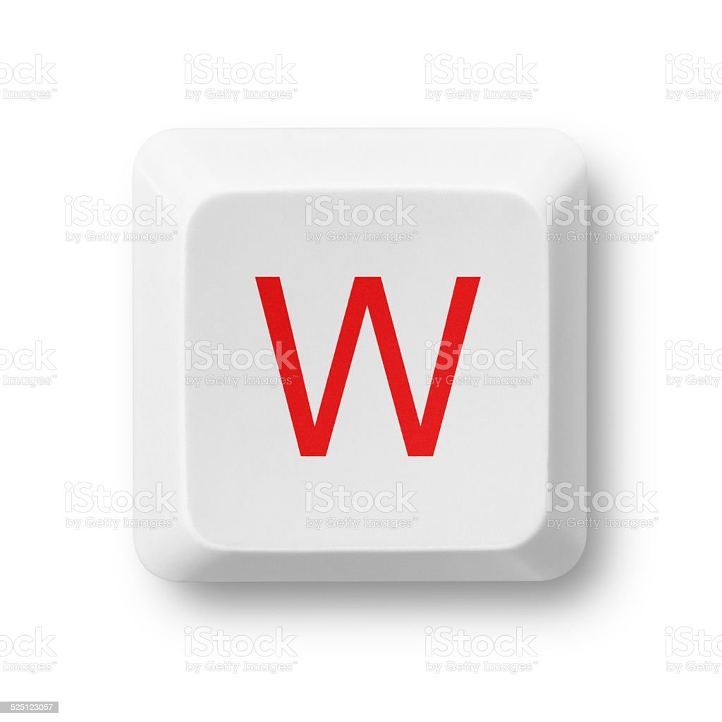 Letter W on a computer key isolated on white stock photo
