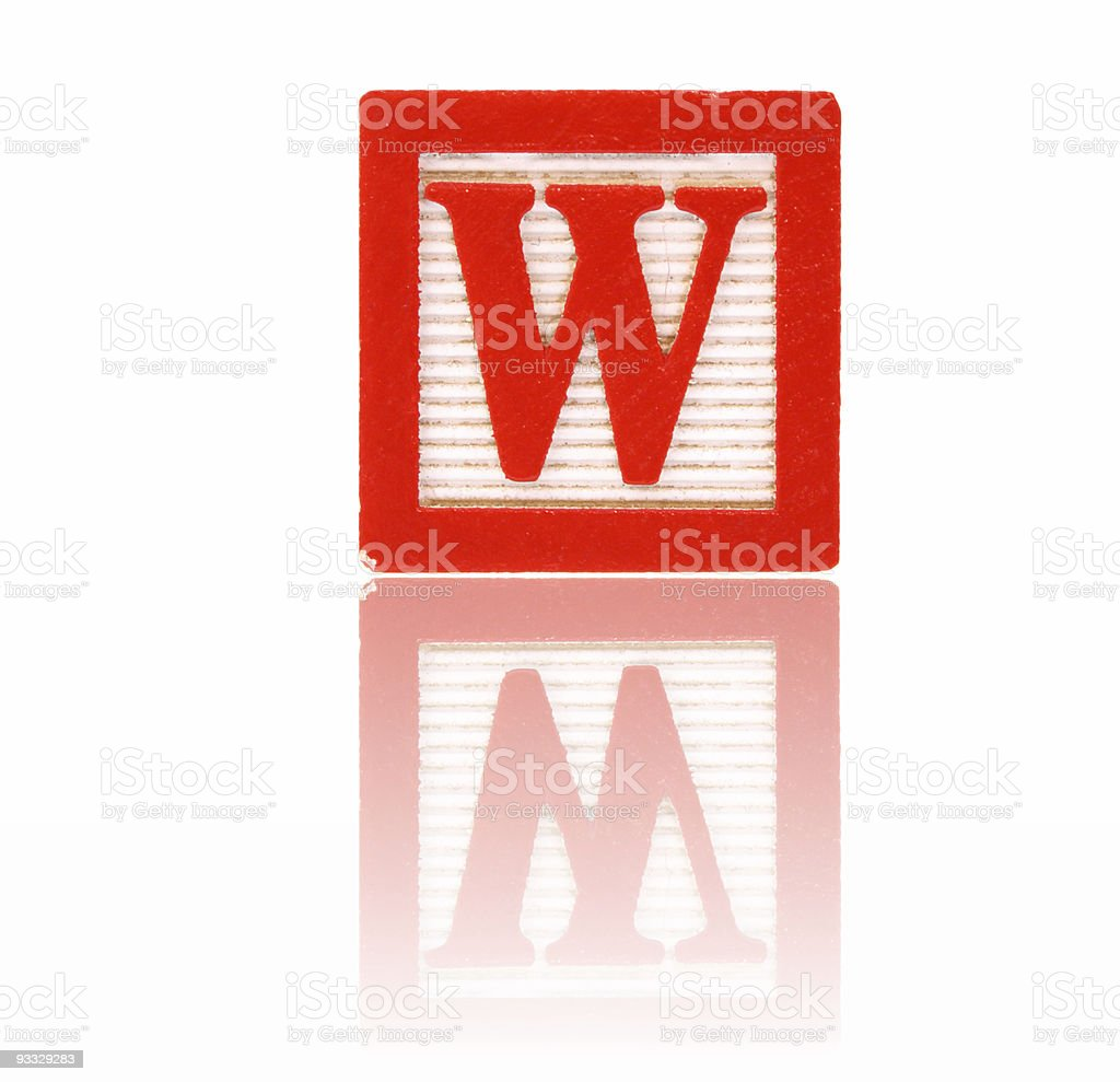 letter w - toy block series royalty-free stock photo