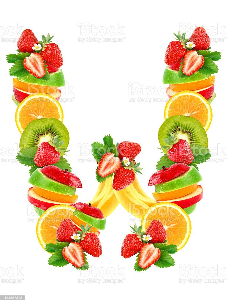 Letter W with fruit royalty-free stock photo