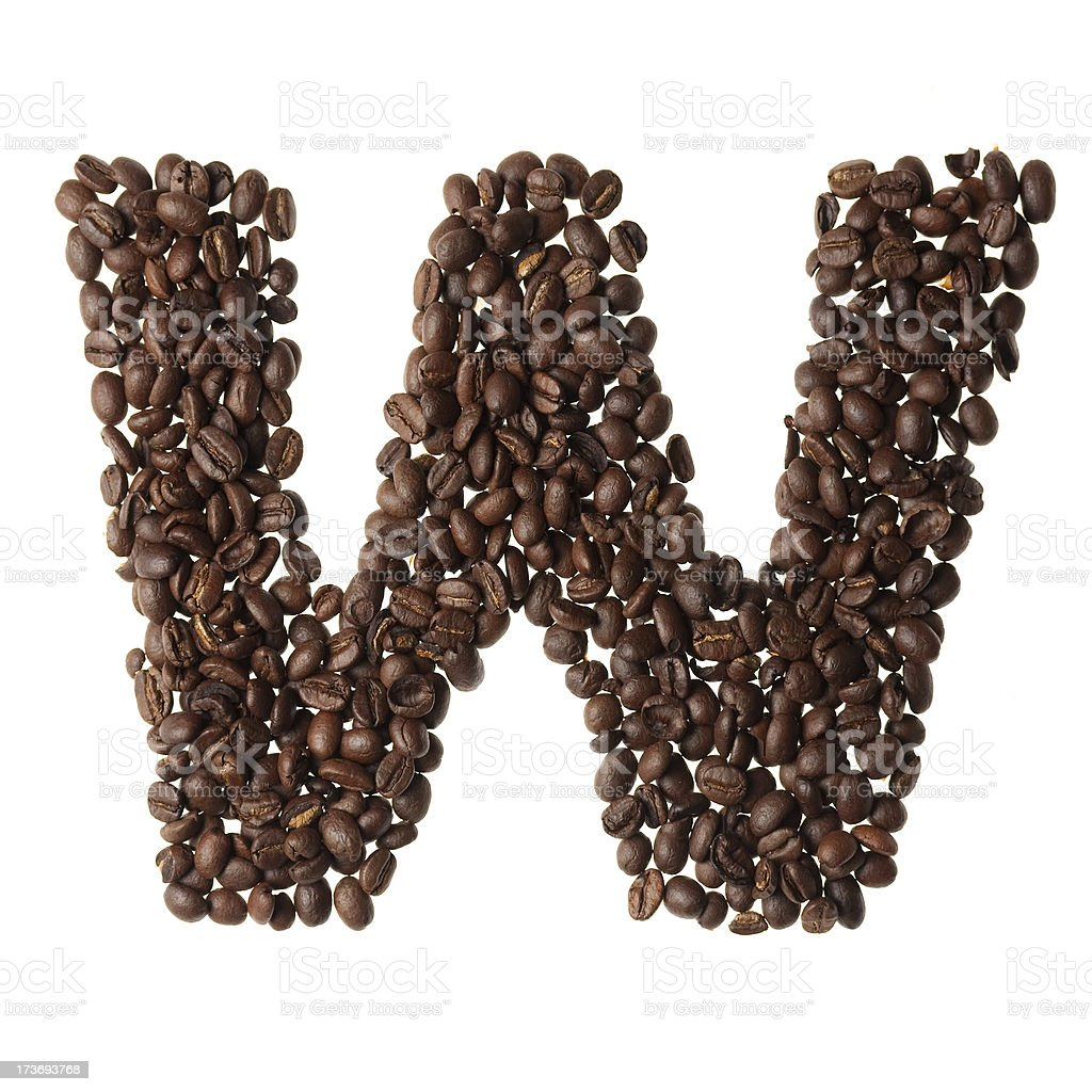 Letter W written with coffee royalty-free stock photo