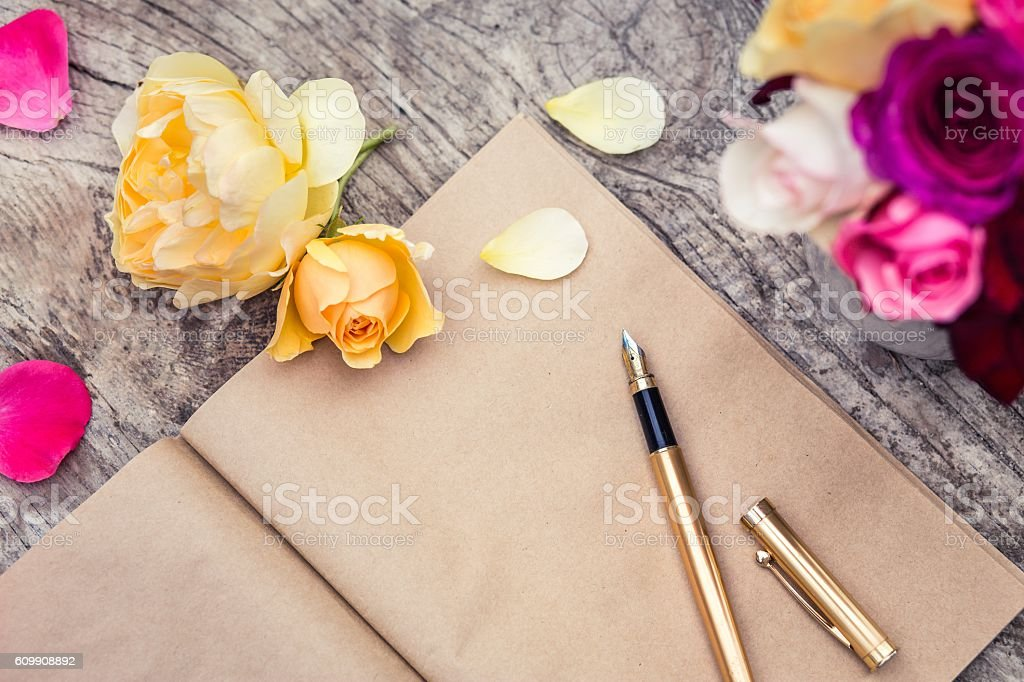 Letter with a Fountain Pen stock photo