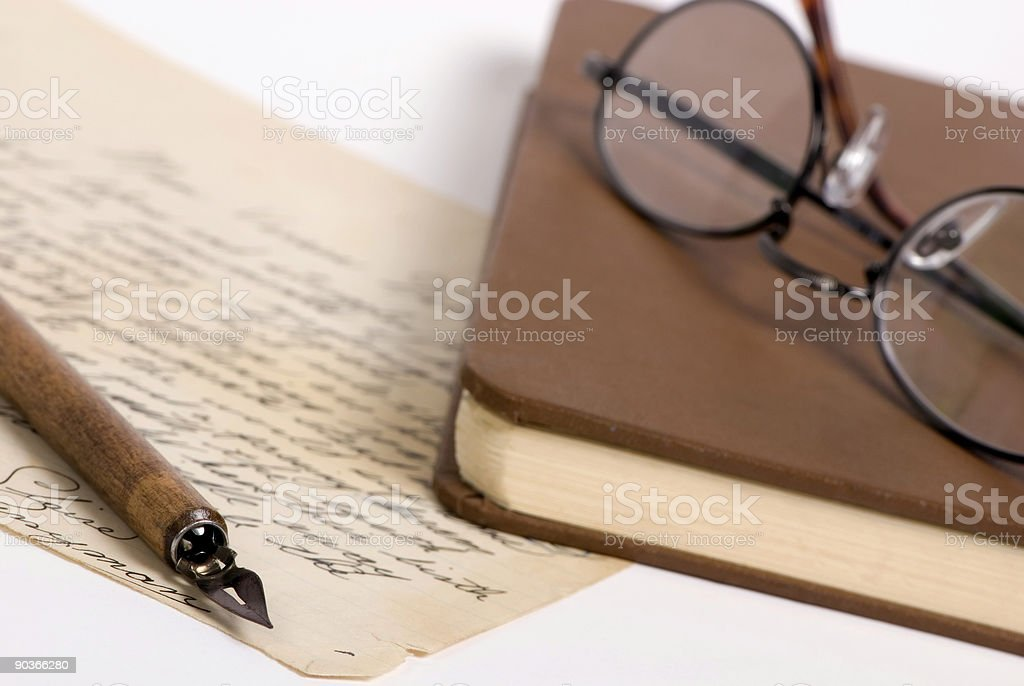 Letter with pen and glasses 1 royalty-free stock photo