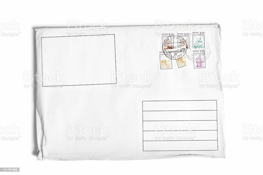 Letter with postage stamps stock photo