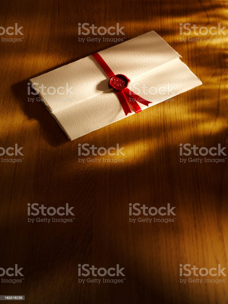 Letter with Seal of Approval stock photo