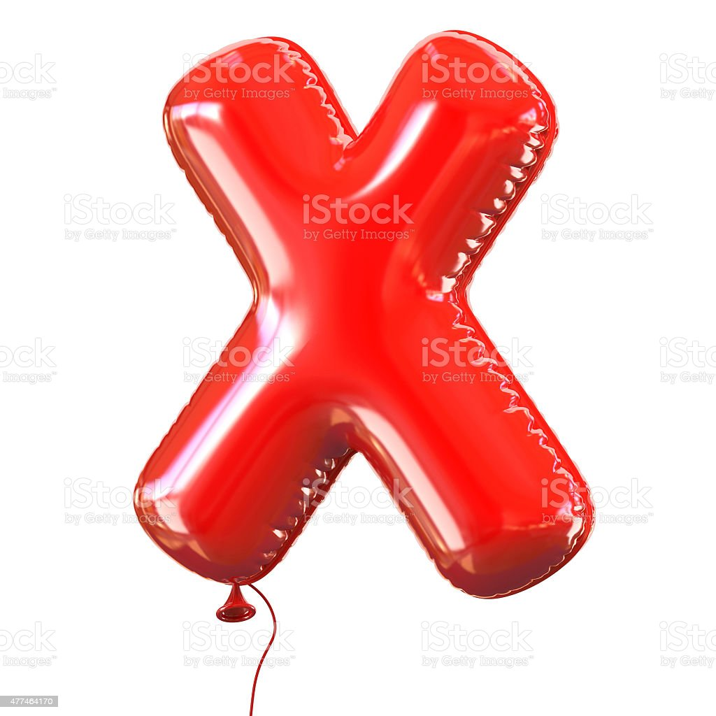 Letter X balloon font stock photo