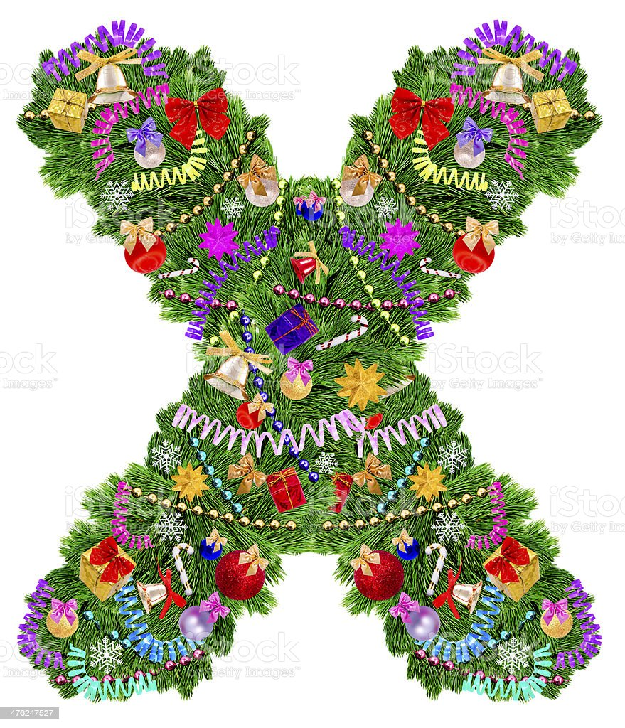 Letter X. Christmas tree decoration royalty-free stock photo