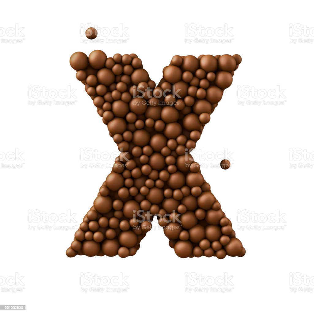 Letter X made of chocolate bubbles, milk chocolate concept, 3d illustration stock photo