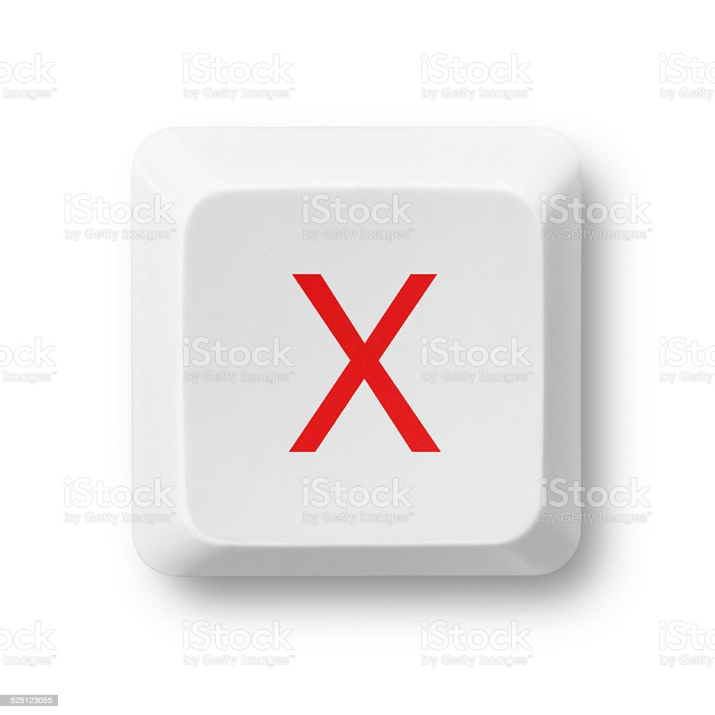 Letter X on a computer key isolated on white stock photo
