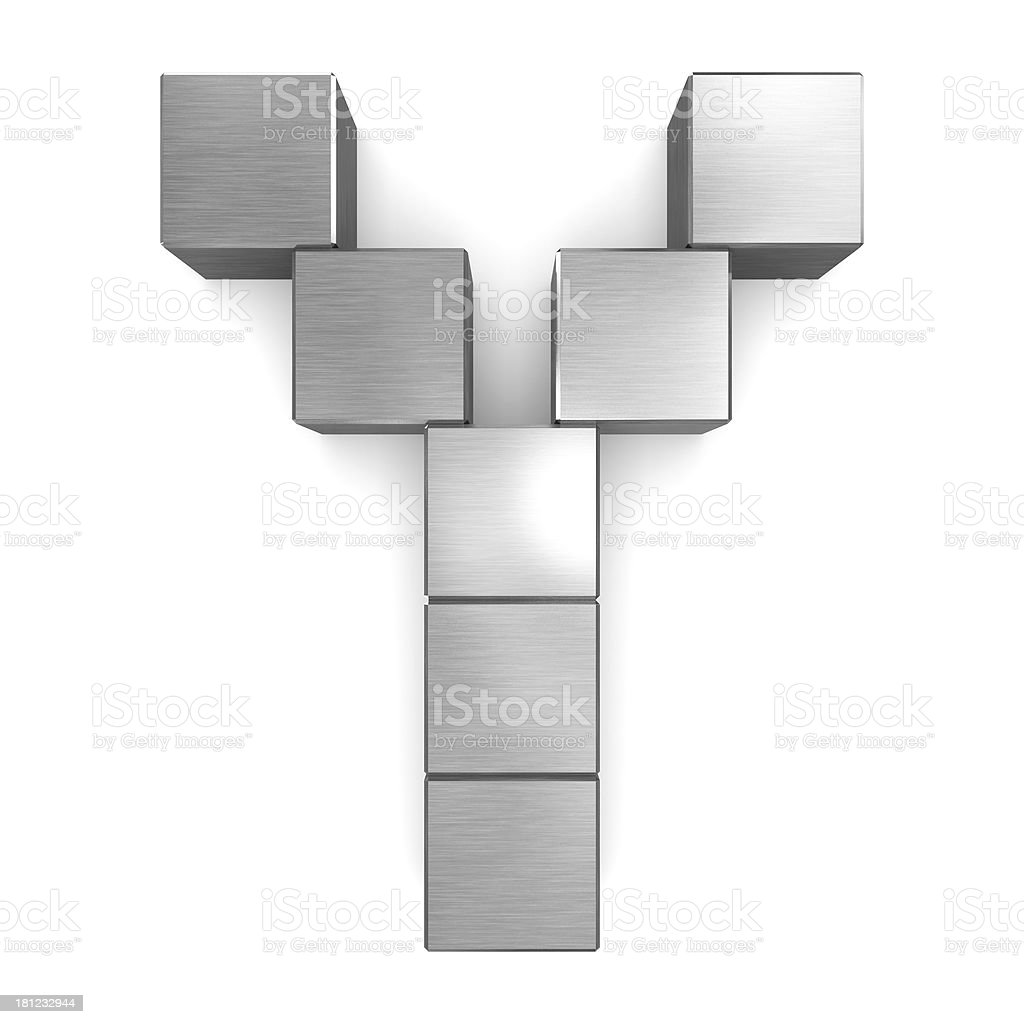 letter Y cubic metal royalty-free stock photo