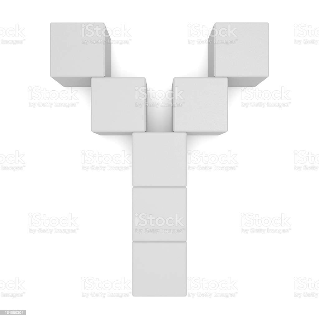 letter Y cubic white royalty-free stock photo