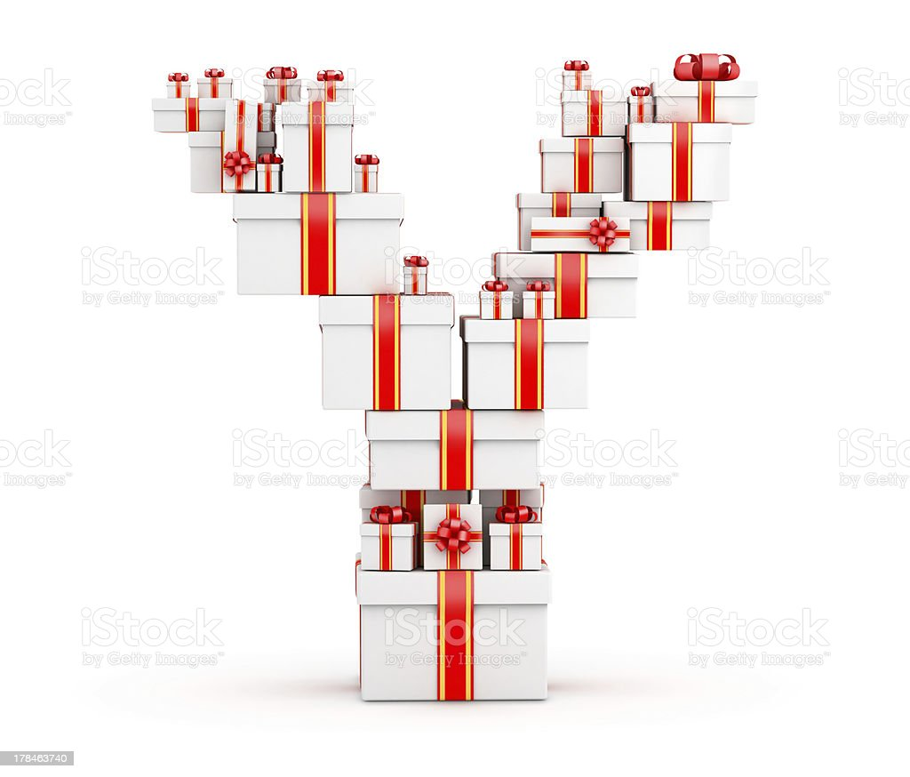 Letter Y from boxes of gifts decorated with red ribbons royalty-free stock photo