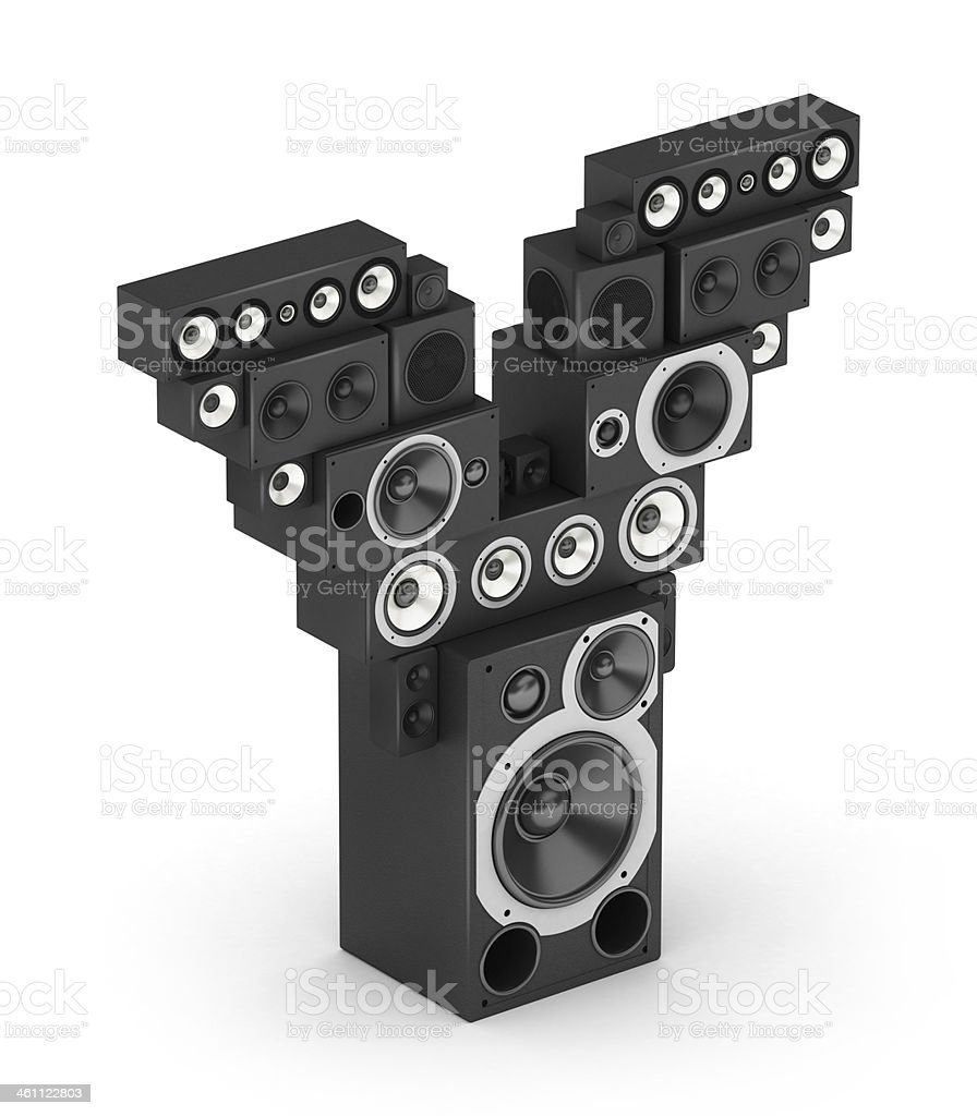 Letter Y from speaker in isometry stock photo