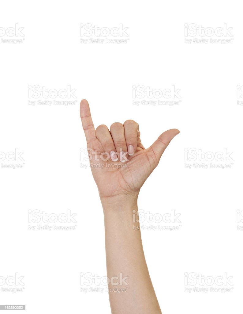 Letter Y in American Sign Language stock photo