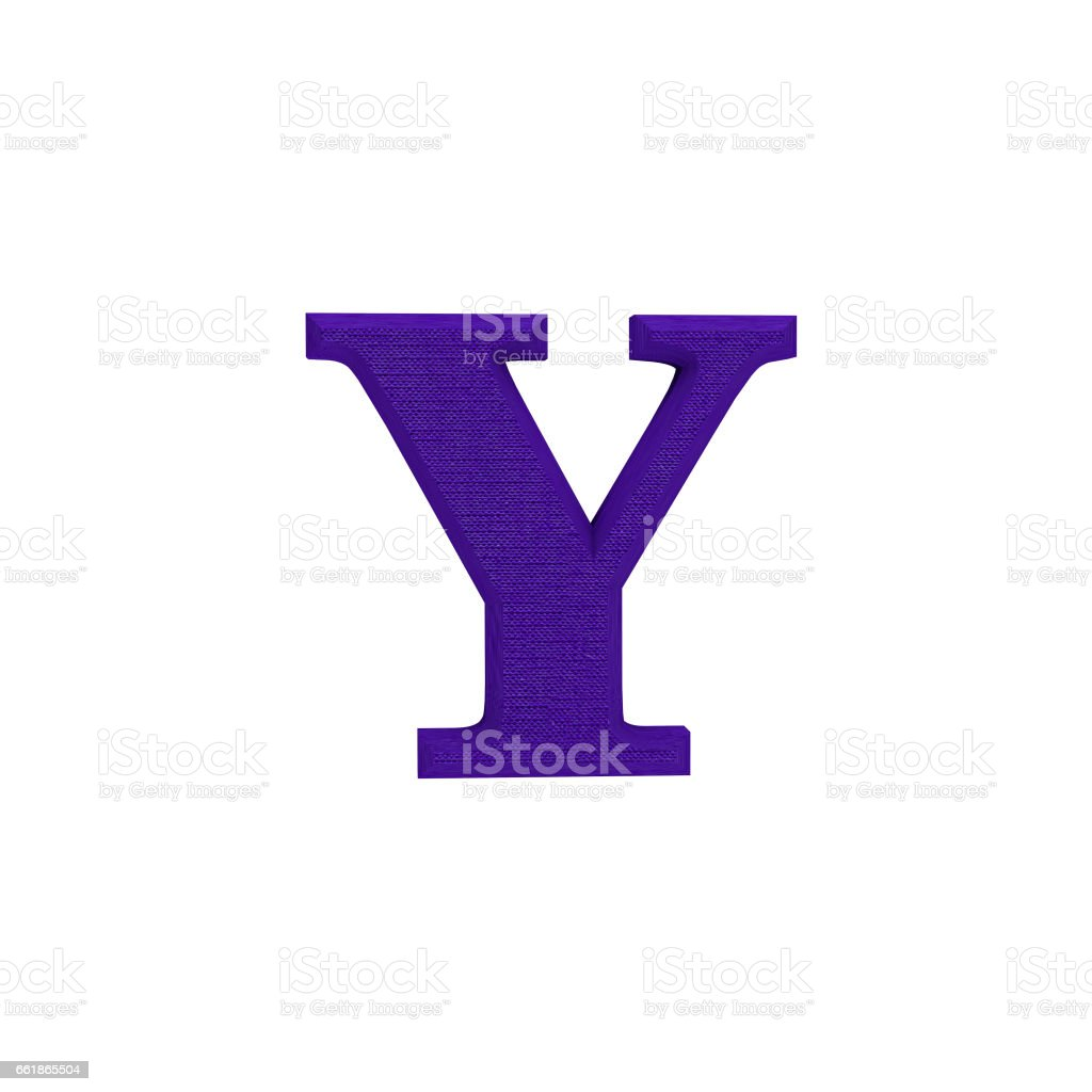 Letter Y made of cloth, tissue texture, 3d illustration stock photo