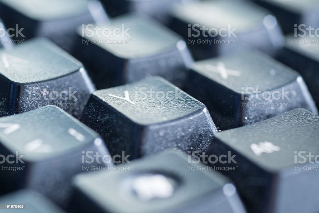 Letter Y on a black keyboard stock photo