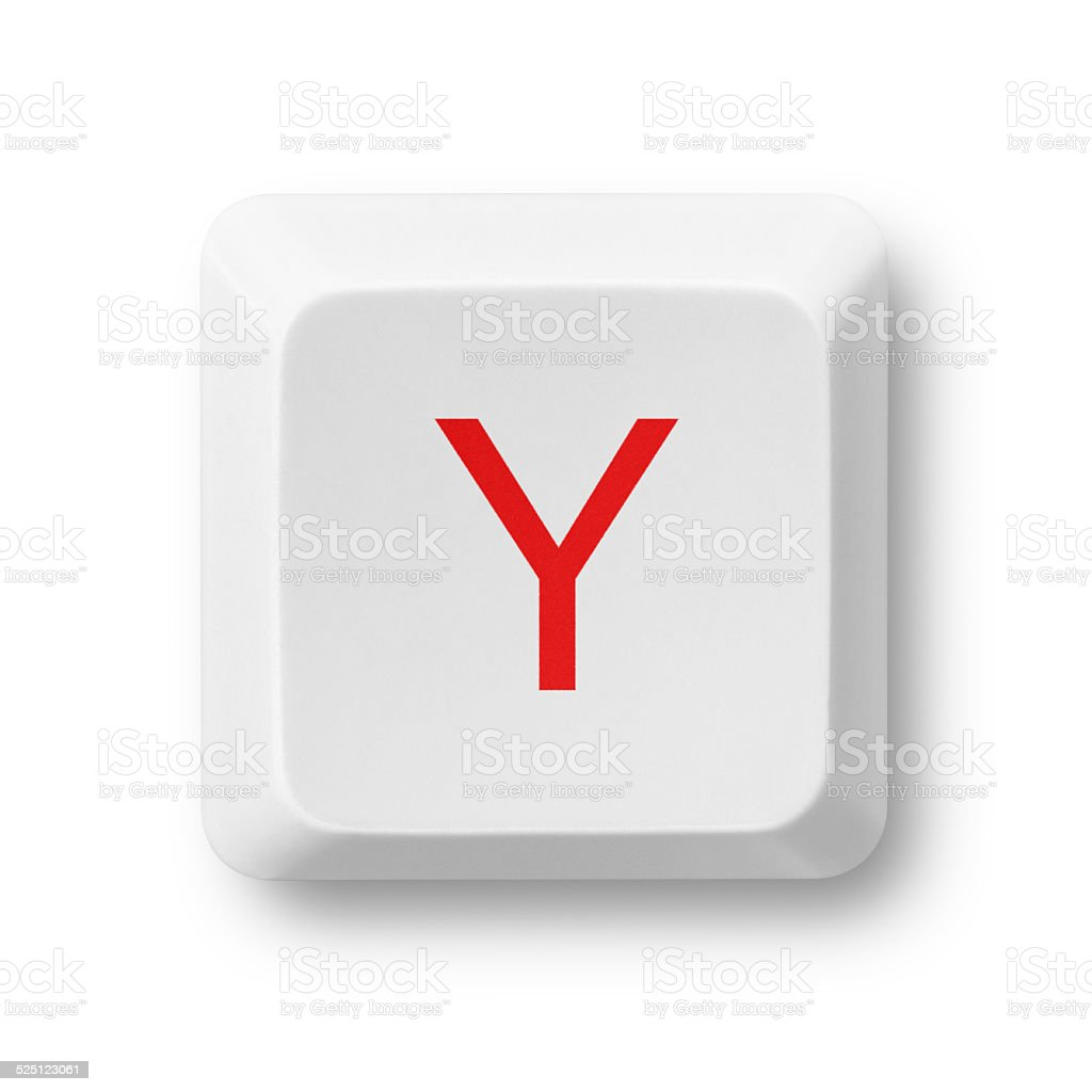 Letter Y on a computer key isolated on white stock photo