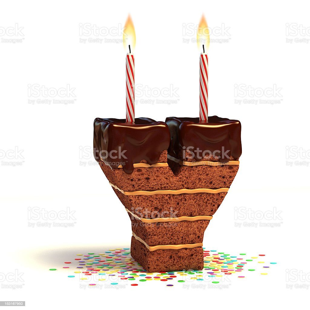 letter Y shaped chocolate cake stock photo