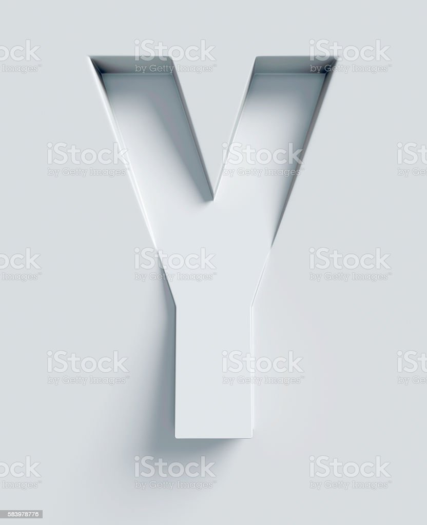 Letter Y slanted 3d font engraved and extruded from surface stock photo