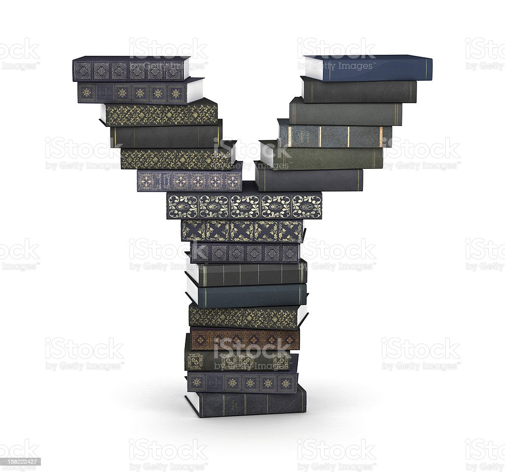 Letter Y, stack of books royalty-free stock photo