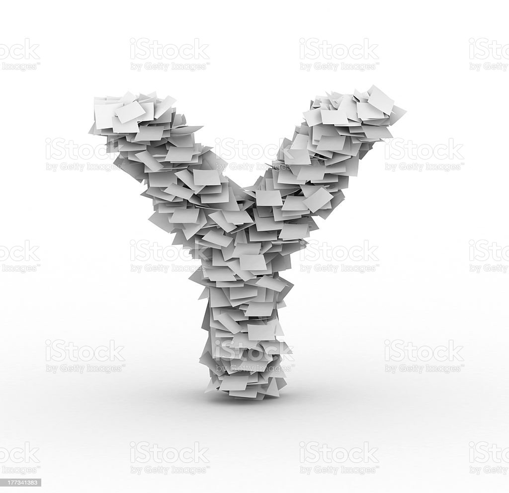 Letter Y, stacked from paper sheets royalty-free stock photo