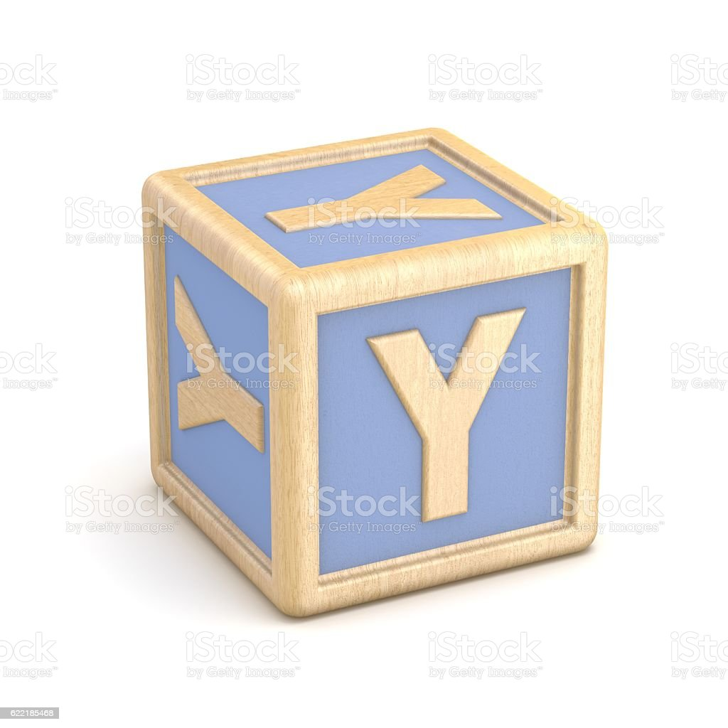 Letter Y wooden alphabet blocks font rotated. 3D stock photo