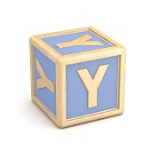 Letter Y wooden alphabet blocks font rotated. 3D