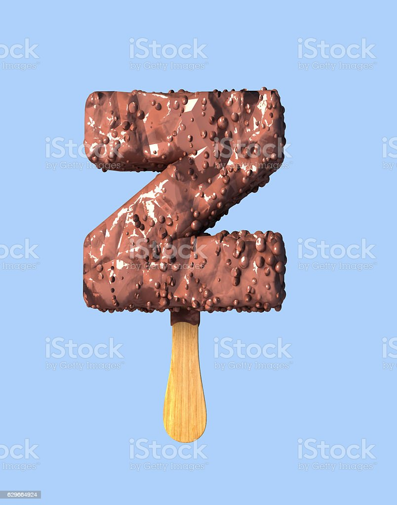 Letter Z. Chocolate Ice Cream Font Concept. stock photo