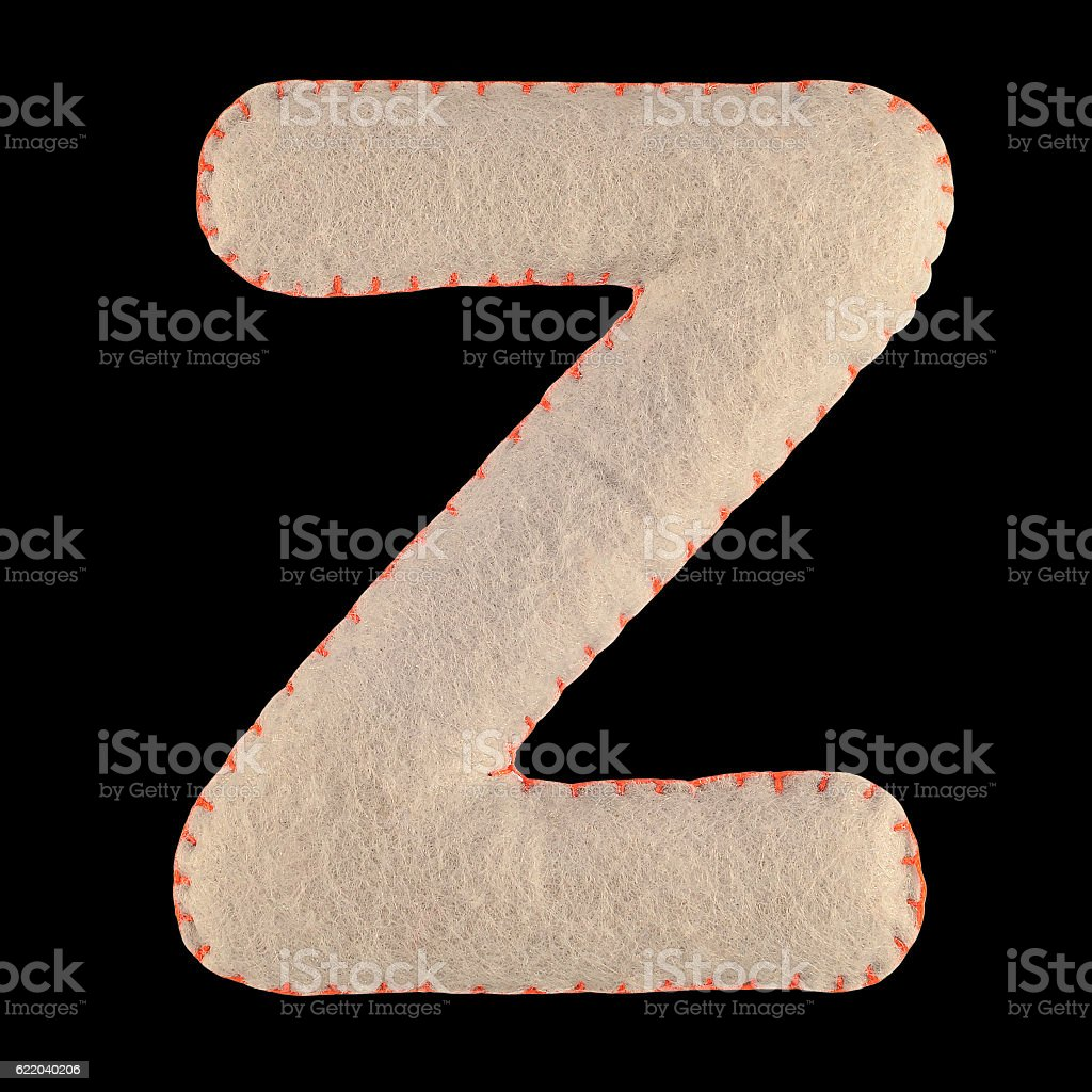 Letter Z from felt stock photo