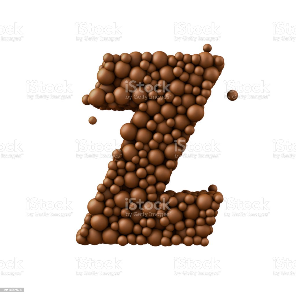 Letter Z made of chocolate bubbles, milk chocolate concept, 3d illustration stock photo