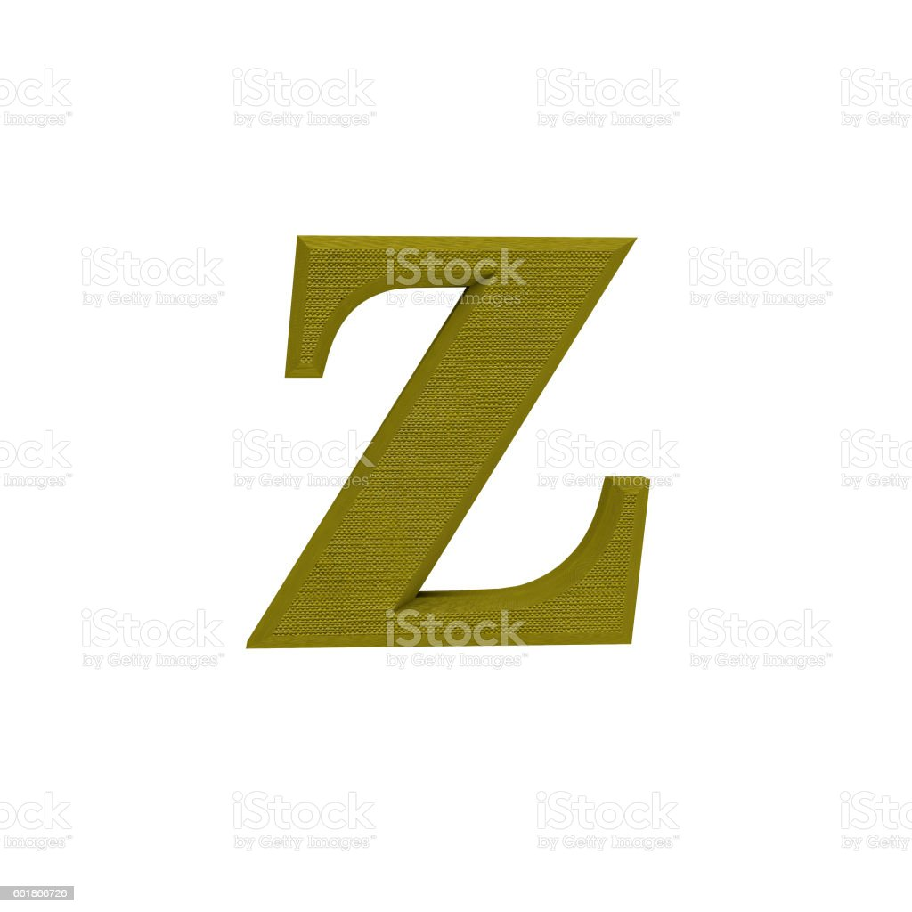 Letter Z made of cloth, tissue texture, 3d illustration stock photo