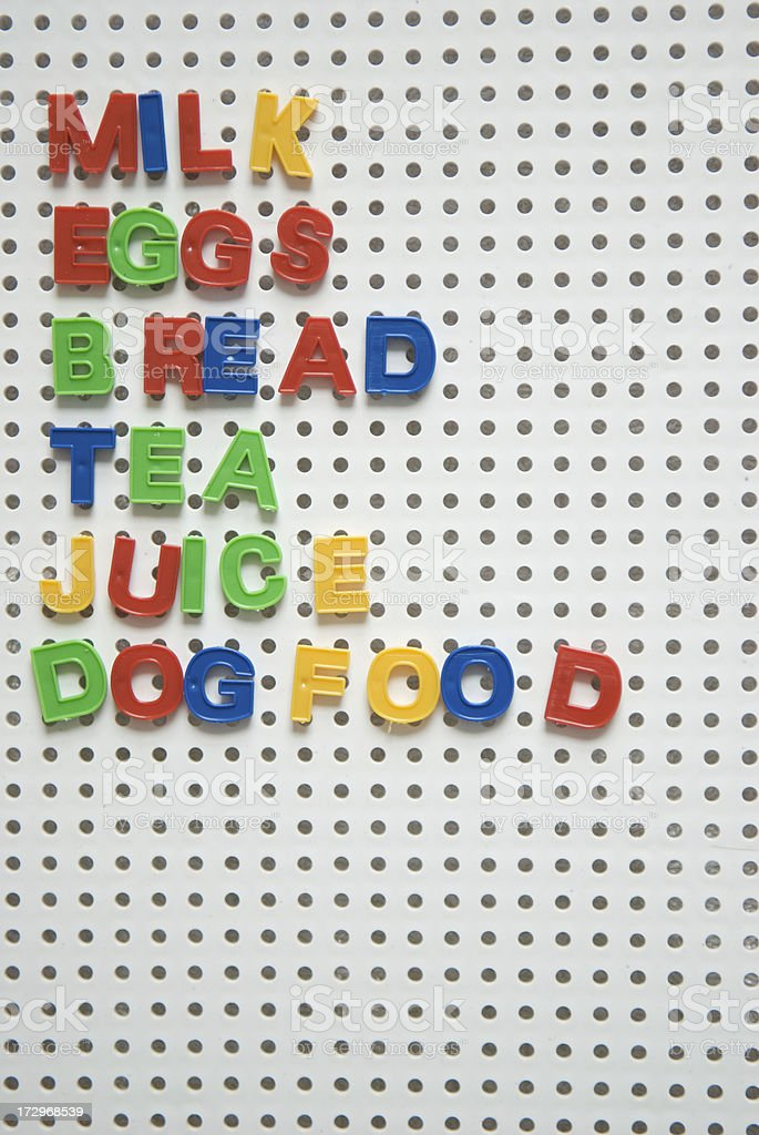 Letterboard Grocery List Milk Eggs Bread Juice royalty-free stock photo