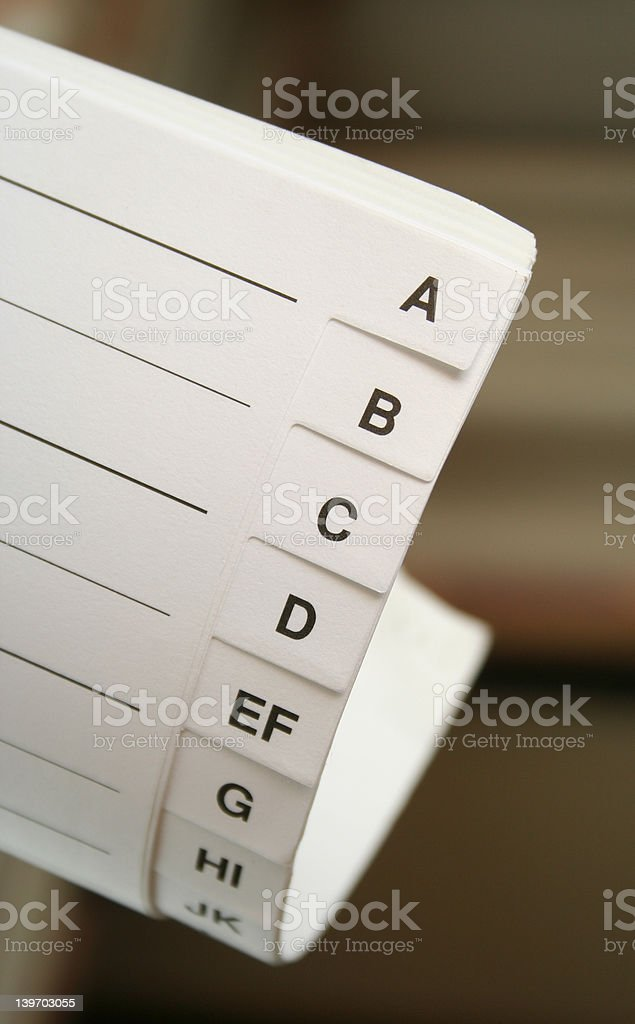 Letter-index royalty-free stock photo