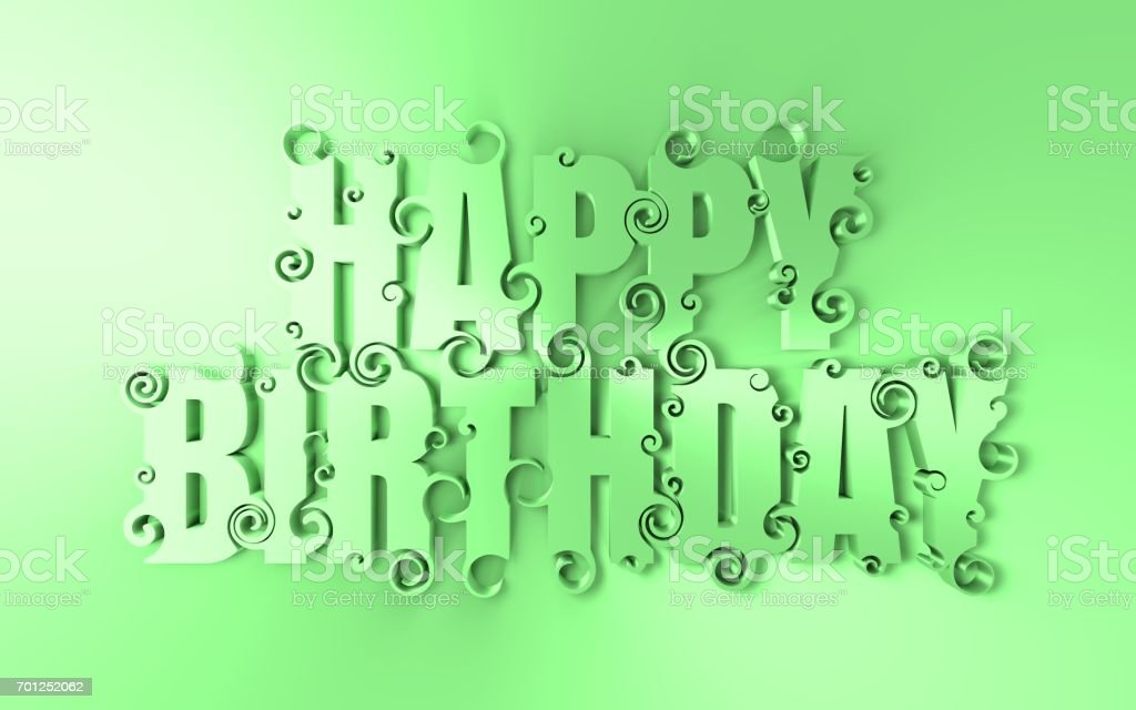 Lettering illustration with Happy Birthday text. stock photo