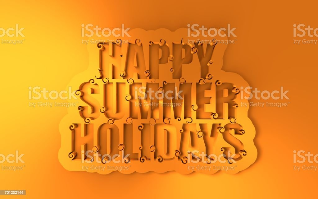 Lettering illustration with happy summer holidays text. stock photo