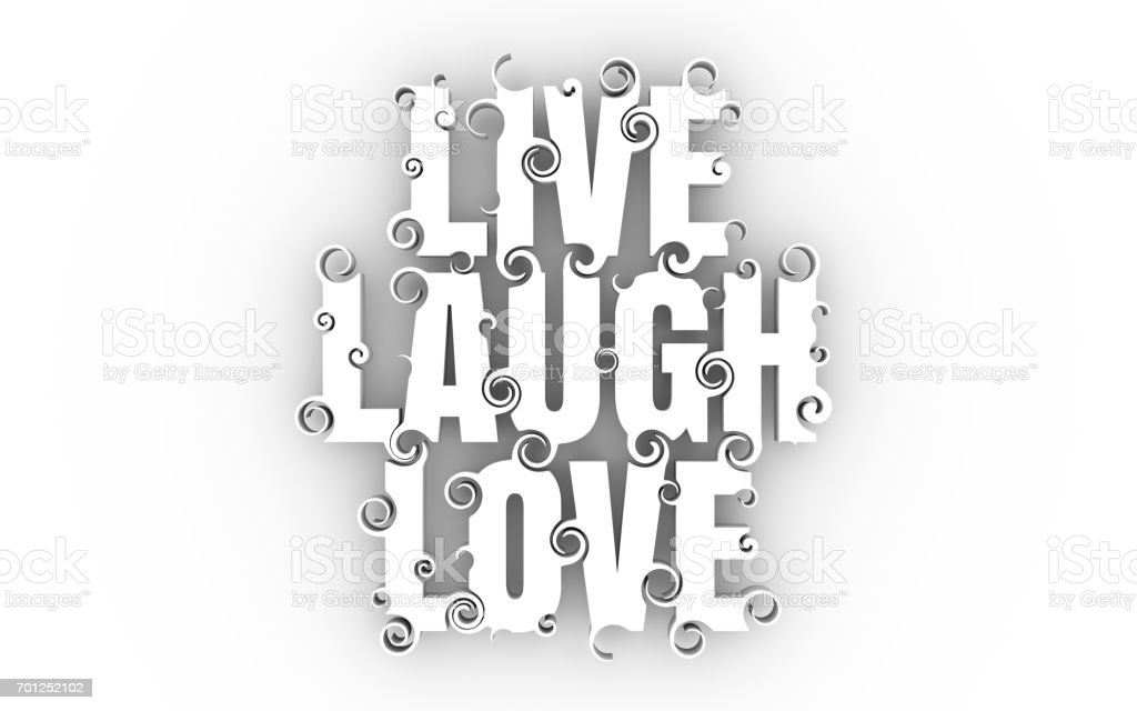 Lettering illustration with Live Laugh Love text. stock photo